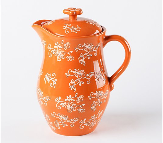 Temp-tations Floral Lace 2-qt Lidded Pitcher