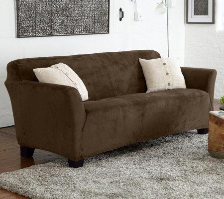 Home Reflections Velvet Plush Stretch Sofa Furniture Cover Qvc Com