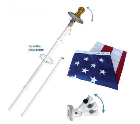 Annin American Flag and Spinning 6' Pole Set with Solar Light