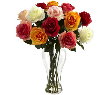 Assorted Blooming Roses with Vase by Nearly Natural