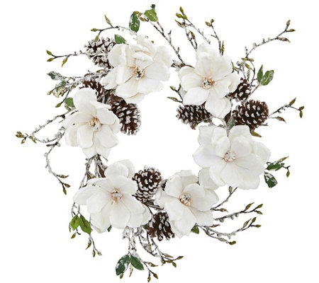 "24"" Snowed Magnolia Pinecone Wreath by Nearly Natural"