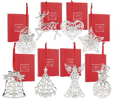 Lenox Set of 8 Silver Plated Ornaments with Gift Boxes - Lenox Set Of 8 Silver Plated Ornaments With Gift Boxes - Page 1