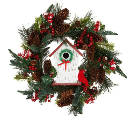 "22"" Holiday Floral Wreath with Birdhouse by Valerie"