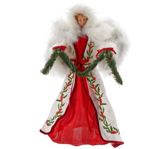 fabric embroidered holly berry angel h206566 - Qvc Christmas Decorations