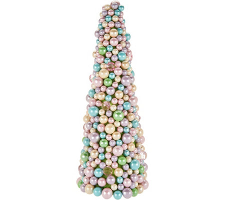"15"" Pastel Beaded Egg Cone Tree"
