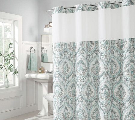 Hookless French Damask Shower Curtain With Built In Liner
