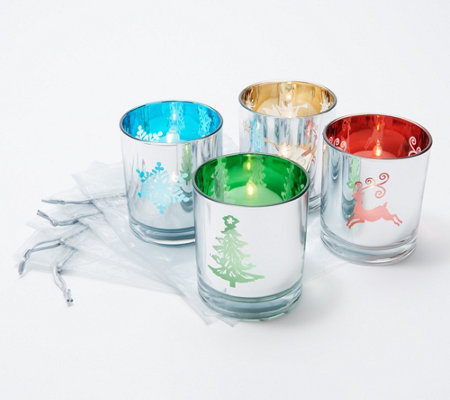 """As Is"" Set of 4 Illuminated Holiday Votives with Sheer Bags by Valerie"
