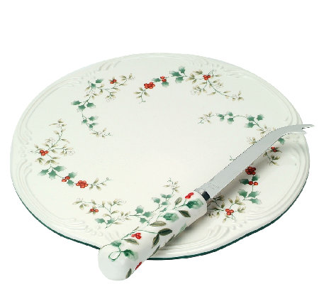 Pfaltzgraff Winterberry Cheese Tray with Slicer