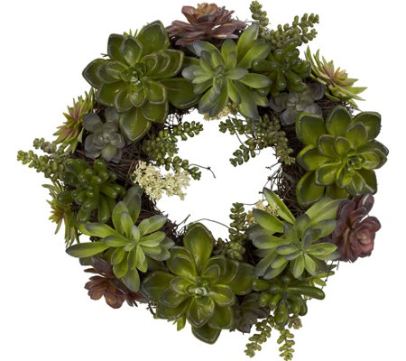 20 Succulent Wreath By Nearly Natural