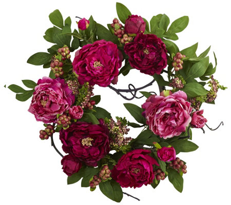 20'' Peony & Berry Wreath by Nearly Natural