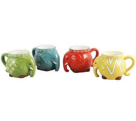 Gibson Home Set Of 4 17 5 Oz Elephant Tusk Figural Mugs