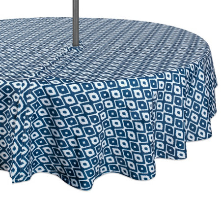 Design Imports Ikat Outdoor Tablecloth W Zipper 60 Round
