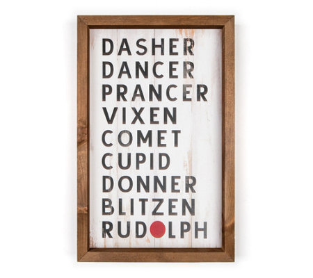 Reindeer Names Wall Art Tabletop Display