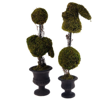 Set of 2 Bunny Topiaries by Valerie