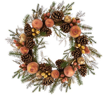 "21"" Vintage Metallic Sugared & Beaded Fruit Wreath"