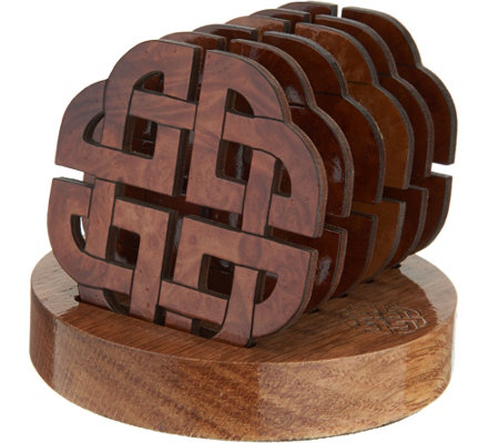 Monson Set of 6 Wooden Coasters with Holder