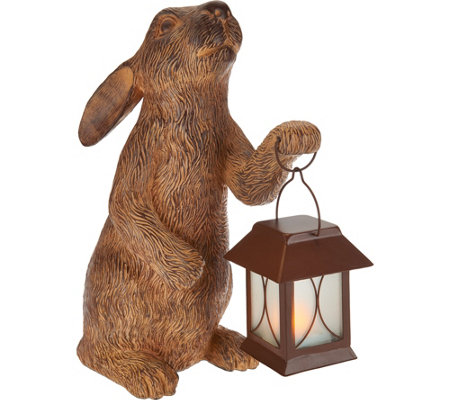 """As Is"" 15"" Indoor/Outdoor Bunny with Illuminated Lantern"