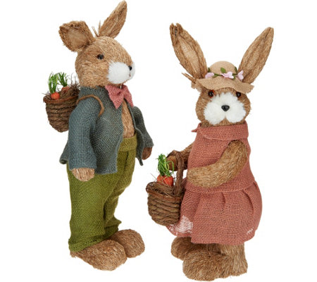 2-Piece Spring Sisal Bunny Couple by Valerie