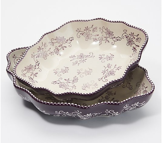 Temp-tations Floral Lace Set of 2 Nesting Bowls