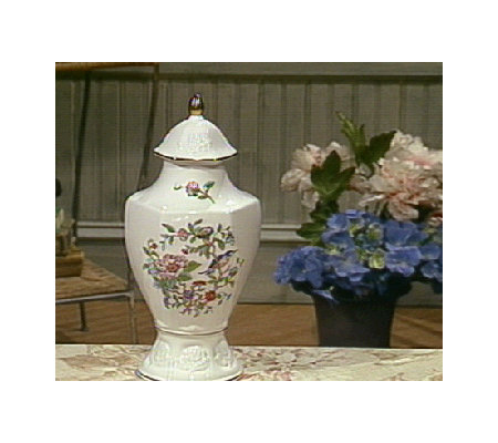 Aynsley Pembroke English Rose Covered Vase Qvc