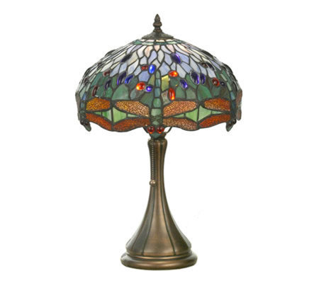 "Tiffany Style 18-1/2""H Hanginghead Dragonfly Accent Lamp"