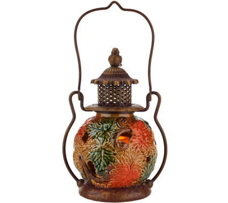 Porcelain Harvest Lantern with Flameless Candle by Home Reflections