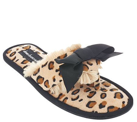 """As Is"" Dennis Basso Faux Fur Animal Print Slipper Sandals with Bow"