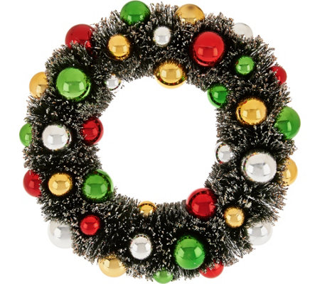 """As Is"" 12"" Bottlebrush Wreath with Ornaments and Glitter Accents"