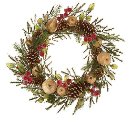 "24"" Golden Glittered Beaded Fruit & Pinecone Wreath w/Rose Hips"