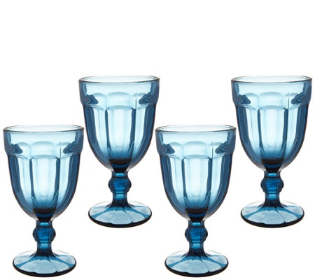 Set of 4 Footed Glass Goblets by Valerie