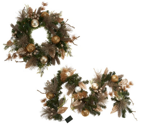"""As Is"" Casa Zeta-Jones Prelit 24"" Holiday Wreath or 6' Garland"