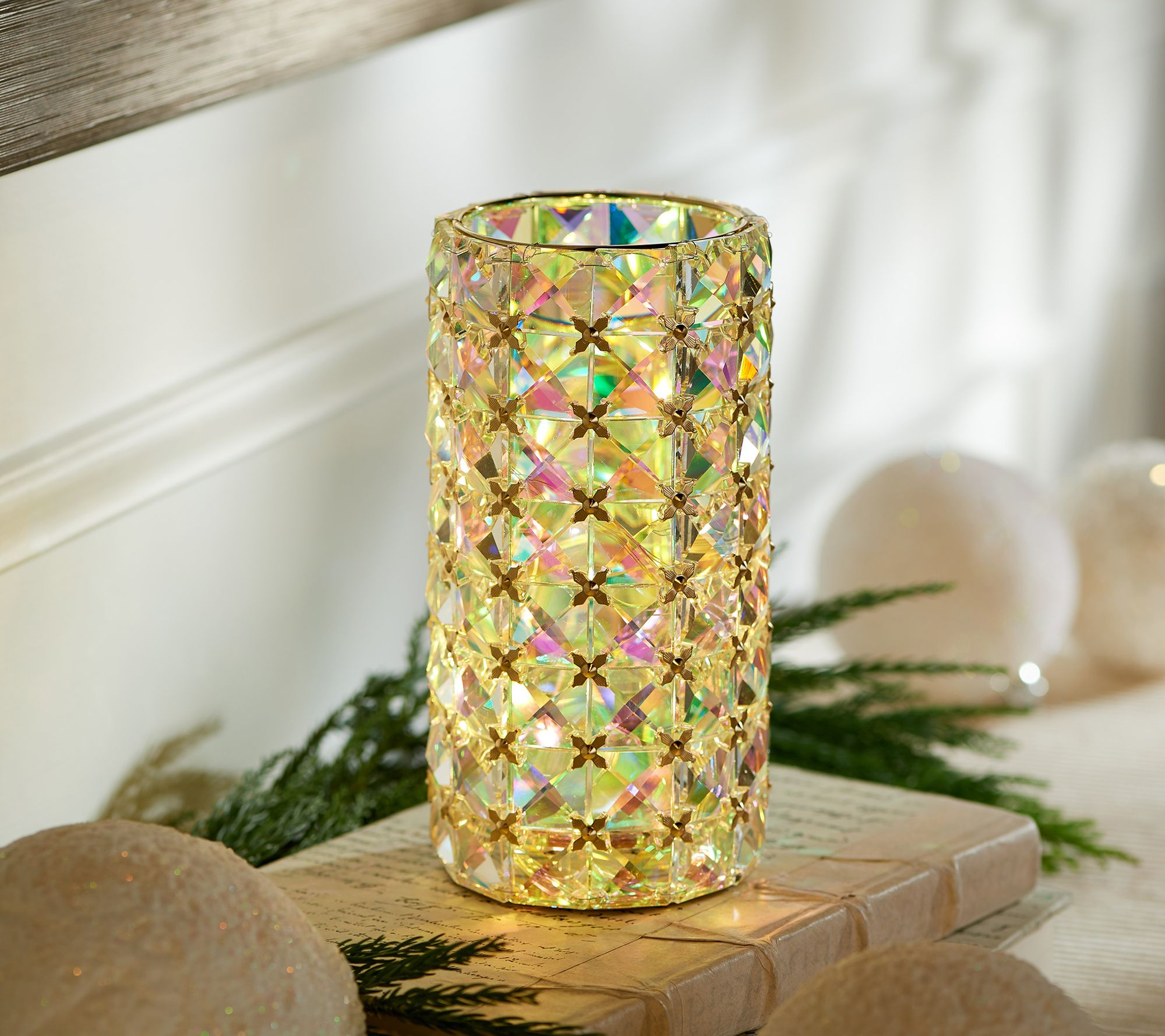 ILLUMINATED PINK FACETED GLASS HURRICANE Valerie Parr Hill qvc SOLD OUT