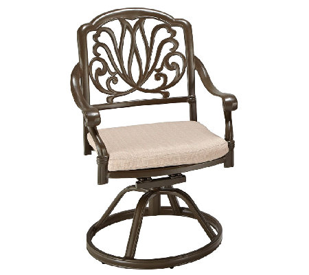 Home Styles Outdoor Floral Blossom Taupe SwivelChair