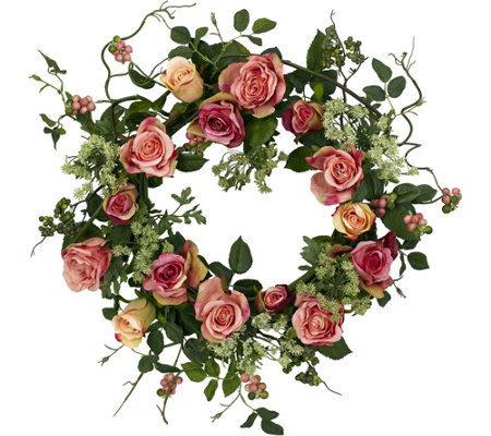 "20"" Rose Wreath by Nearly Natural"