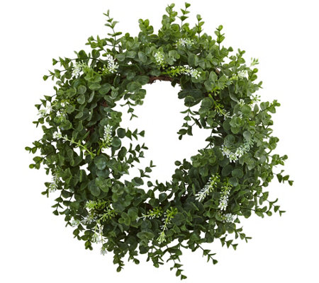 "18"" Eucalyptus Double Ring Wreath by Nearly Natural"