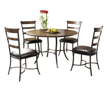 Hillsdale Cameron 5pc Round Dining Set W LadderChairs