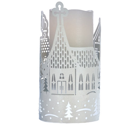 Lightscapes Die Cut Metal Sleeve with Flameless Candle