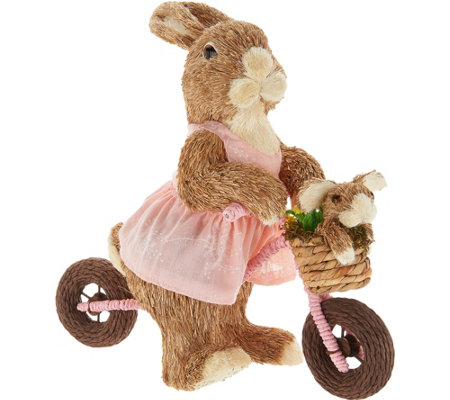 Anniversary Spring Sisal Sister Bunny on Bike by Valerie