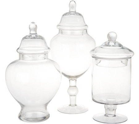 """As Is"" Scott Living Set of 3 Graduated Fillable Glass Apothecary Jars"