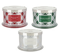 HomeWorx by Harry Slatkin Set of 3 Deluxe 18-oz 4-Wick Candles - H215969