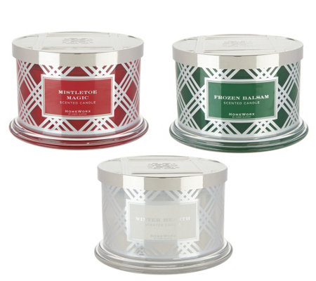 HomeWorx by Harry Slatkin Set of 3 Deluxe 18-oz 4-Wick Candles