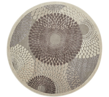"Nourison Graphic Illusions Grey 5'3"" Round AreaRug"