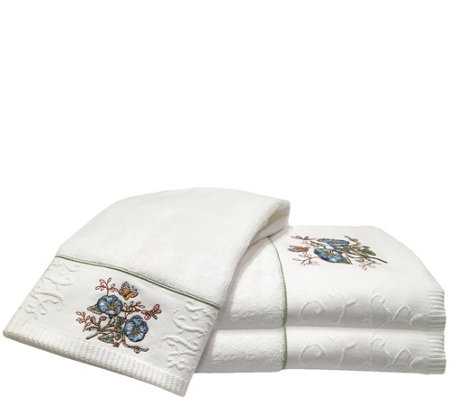 Lenox Butterfly Meadow 3-Piece Embroidered Towel Set