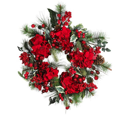 "22"" Hydrangea Holiday Wreath by Nearly Natural"