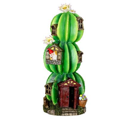 18 Solar Three Round Cactus Fairy House