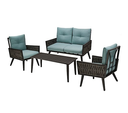 Glitzhome 4 Piece Outdoor Synthetic Wicker Patio Chair Set Qvc Com