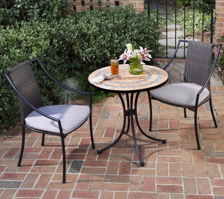Home Styles Terra-Cotta Bistro Table and 2 Laguna Arm Chairs