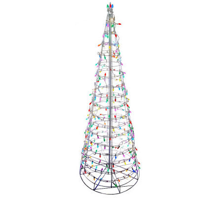 8' Pre-Lit Collapsible Outdoor Christmas Tree with LED Lights