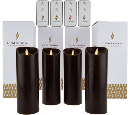 "Luminara (4) 8"" Flameless Candles with 4 Remotes and Gift Boxes"
