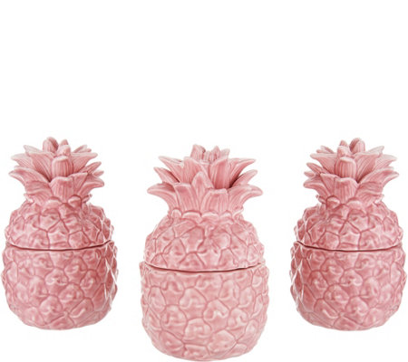 HomeWorx by Harry Slatkin Set of (3) 4oz. Ceramic Pineapples
